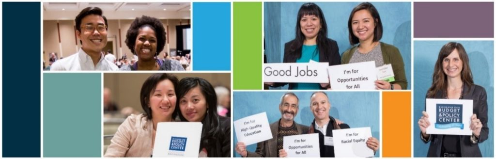 Collage of images featuring several people holding signs expressing value like goob jobs and education